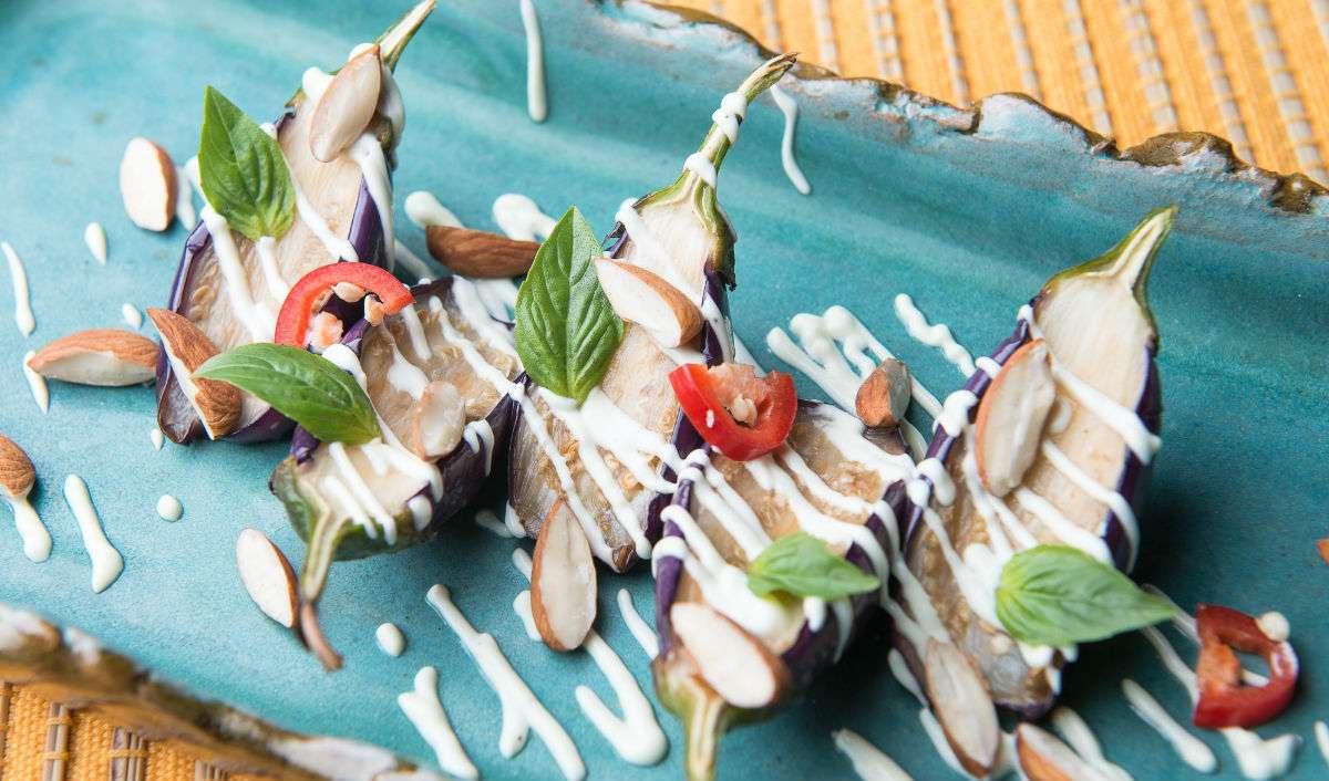 roast eggplant and almond salad recipe