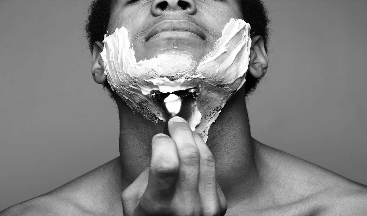 Man Grooming facial hair