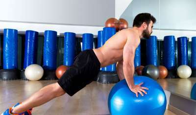 swiss ball push ups